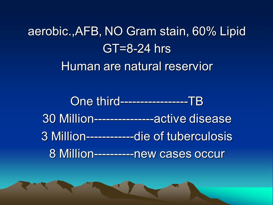 aerobic.,AFB, NO Gram stain, 60% Lipid GT=8-24 hrs Human are natural reservior One third-----------------TB 30 Million---------------active disease 3