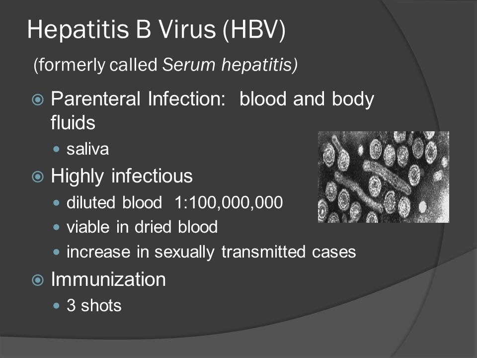 Hepatitis B Virus (HBV) (formerly called Serum hepatitis) Parenteral Infection: blood and body fluids saliva Highly infectious diluted blood 1:100,000