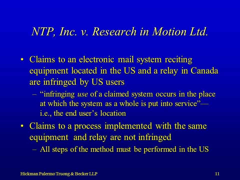 Hickman Palermo Truong & Becker LLP11 NTP, Inc. v.