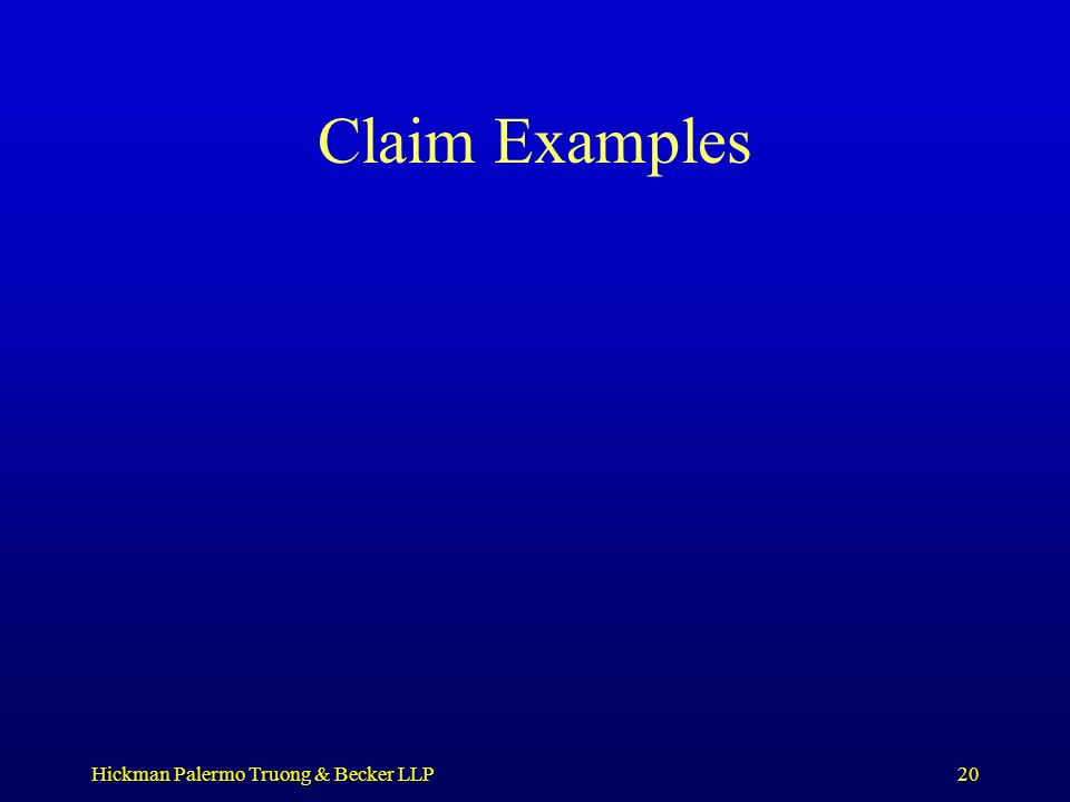 Hickman Palermo Truong & Becker LLP20 Claim Examples