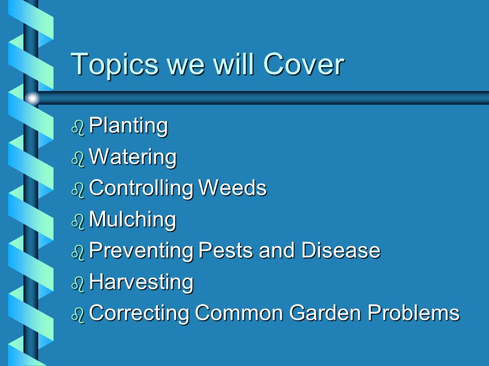 Topics we will Cover b Planting b Watering b Controlling Weeds b Mulching b Preventing Pests and Disease b Harvesting b Correcting Common Garden Probl