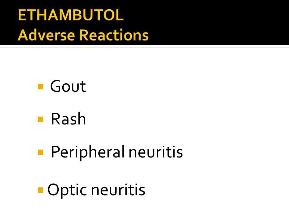 Gout Rash Peripheral neuritis Optic neuritis