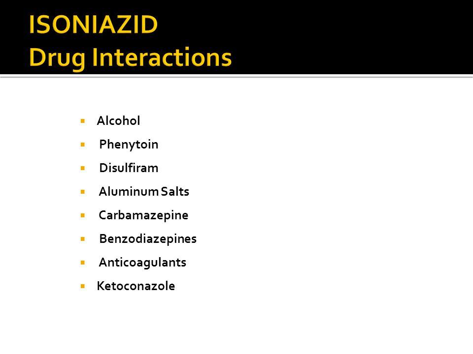 Alcohol Phenytoin Disulfiram Aluminum Salts Carbamazepine Benzodiazepines Anticoagulants Ketoconazole