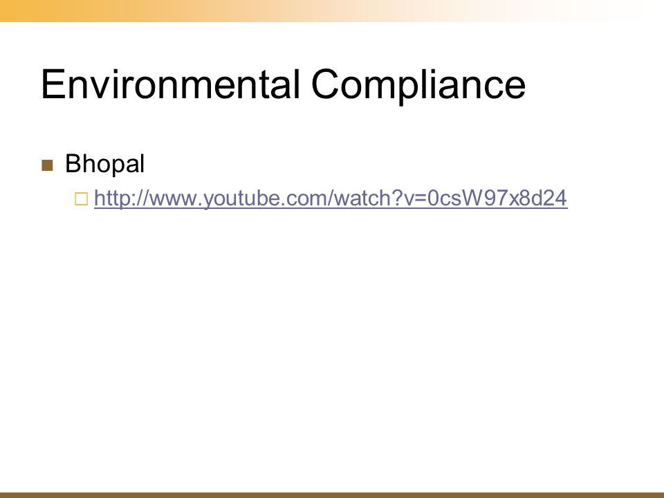 Environmental Compliance Bhopal http://www.youtube.com/watch?v=0csW97x8d24
