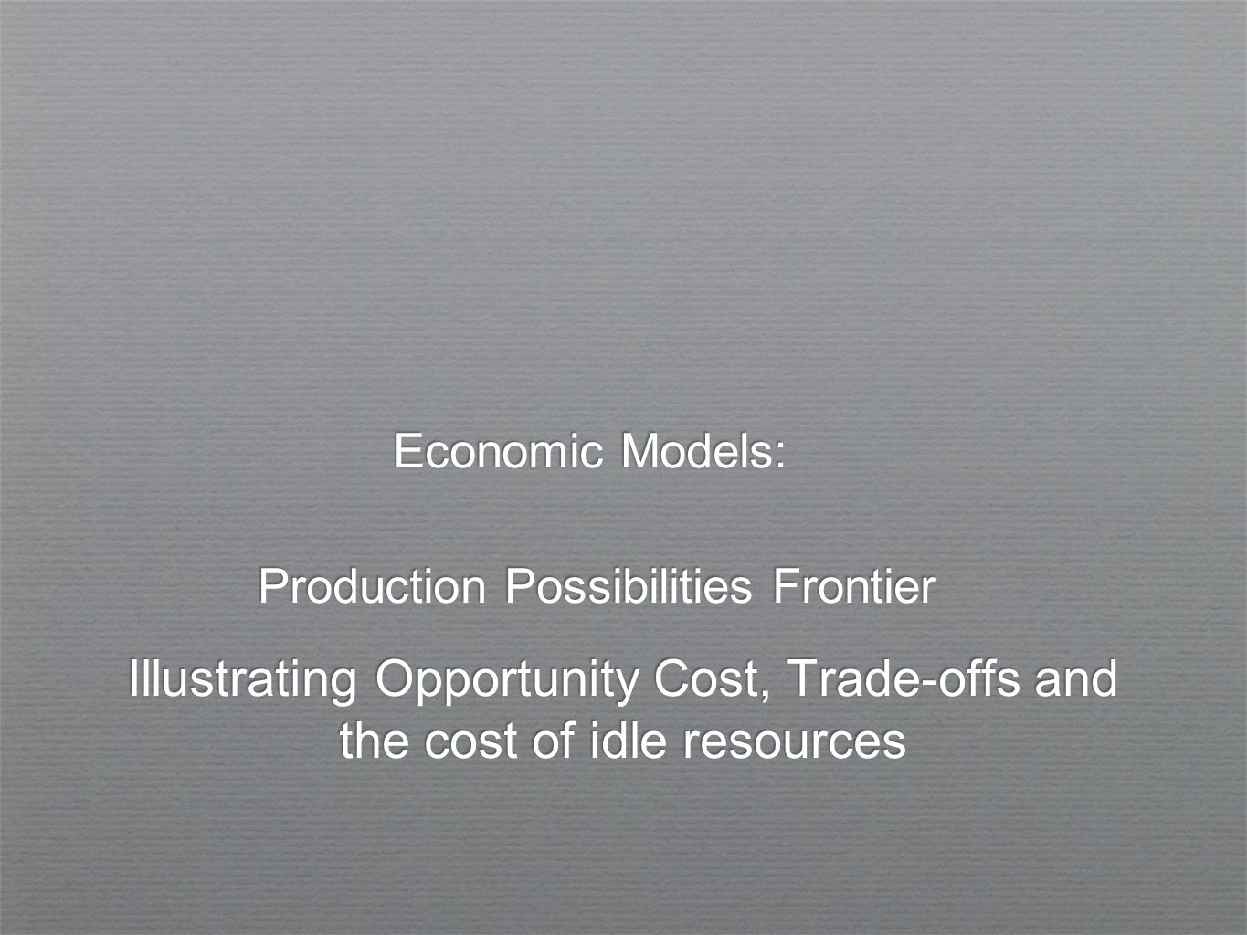 1/8/201422 Quantity of Computers Produced Quantity of Cars Produced 3,000 0 1,000 Linear PPFs The slope of the PPF….