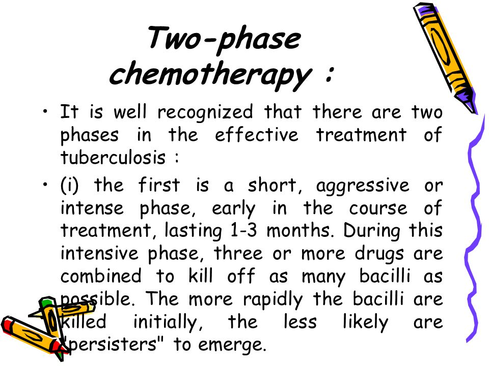 Two-phase chemotherapy : It is well recognized that there are two phases in the effective treatment of tuberculosis : (i) the first is a short, aggres