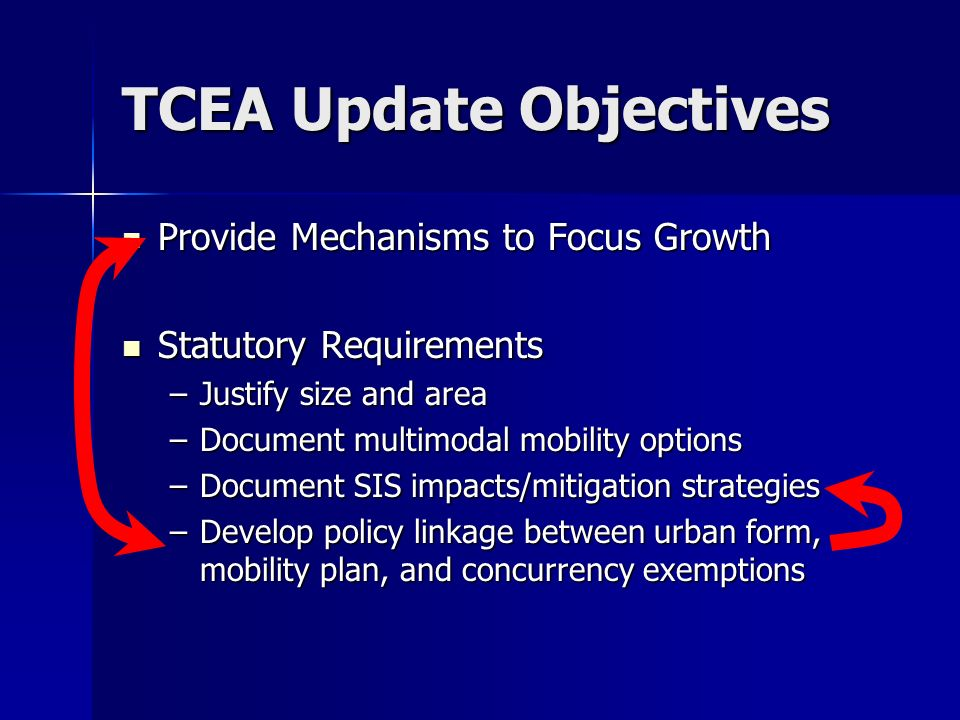 TCEA Update Objectives Provide Mechanisms to Focus Growth Provide Mechanisms to Focus Growth Statutory Requirements Statutory Requirements –Justify size and area –Document multimodal mobility options –Document SIS impacts/mitigation strategies –Develop policy linkage between urban form, mobility plan, and concurrency exemptions
