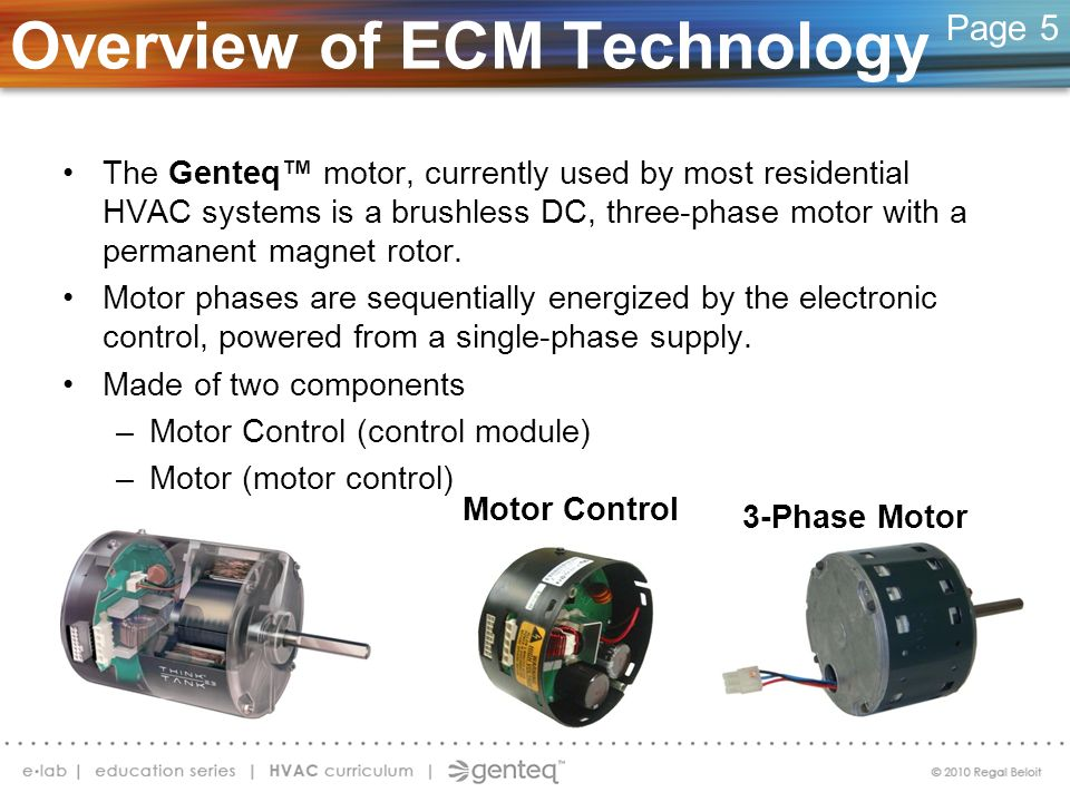 Overview of ECM Technology The Genteq motor, currently used by most residential HVAC systems is a brushless DC, three-phase motor with a permanent mag