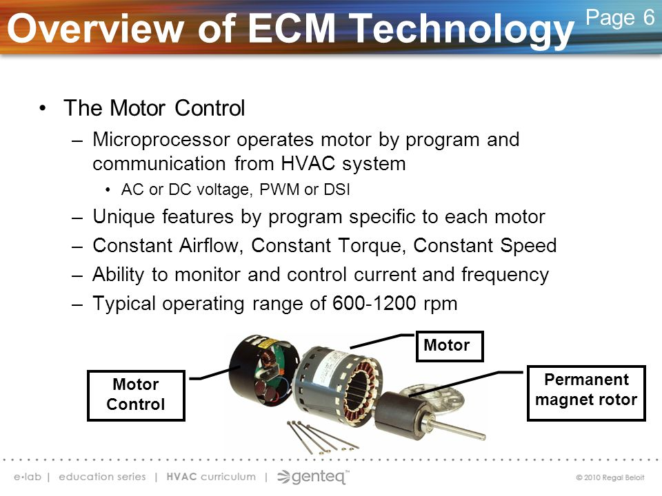 Overview of ECM Technology The Motor Control –Microprocessor operates motor by program and communication from HVAC system AC or DC voltage, PWM or DSI