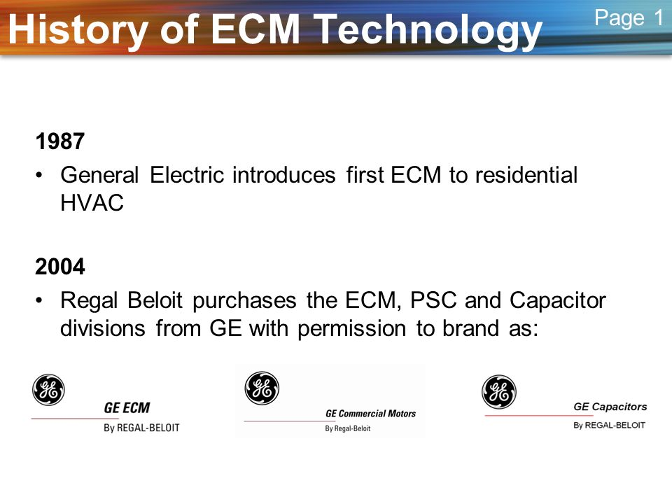 Overview of ECM Technology Motor Control and Motor as separate components Motor Control integrated into the motor shell Motor Control Motor Page 5