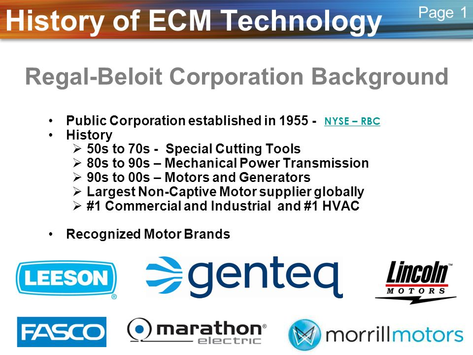 Overview of ECM Technology The Motor Control –Connected to single phase (1Ø) 120, 240 or 460vac 50 or 60 cycle power (Hz) –AC power is converted to DC power to operate the electronics –DC power is converted to a three phase (3Ø) signal to drive motor –Microprocessor controls frequency (RPM) and torque (power) delivered to motor.