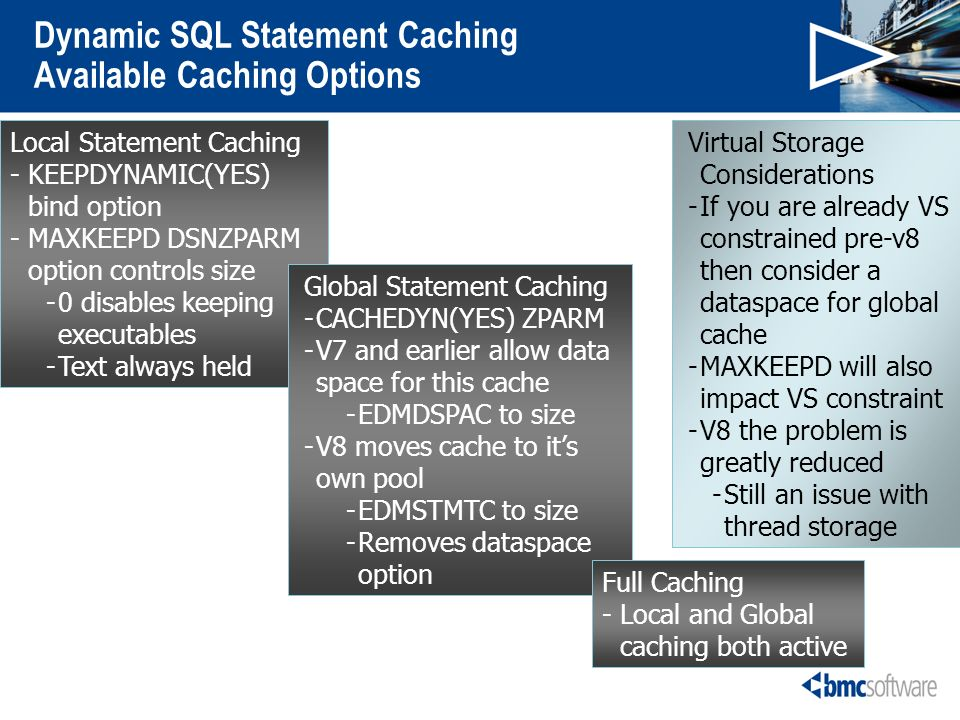 Dynamic SQL Statement Caching Available Caching Options Local Statement Caching -KEEPDYNAMIC(YES) bind option -MAXKEEPD DSNZPARM option controls size -0 disables keeping executables -Text always held Global Statement Caching -CACHEDYN(YES) ZPARM -V7 and earlier allow data space for this cache -EDMDSPAC to size -V8 moves cache to its own pool -EDMSTMTC to size -Removes dataspace option Full Caching - Local and Global caching both active Virtual Storage Considerations -If you are already VS constrained pre-v8 then consider a dataspace for global cache -MAXKEEPD will also impact VS constraint -V8 the problem is greatly reduced -Still an issue with thread storage