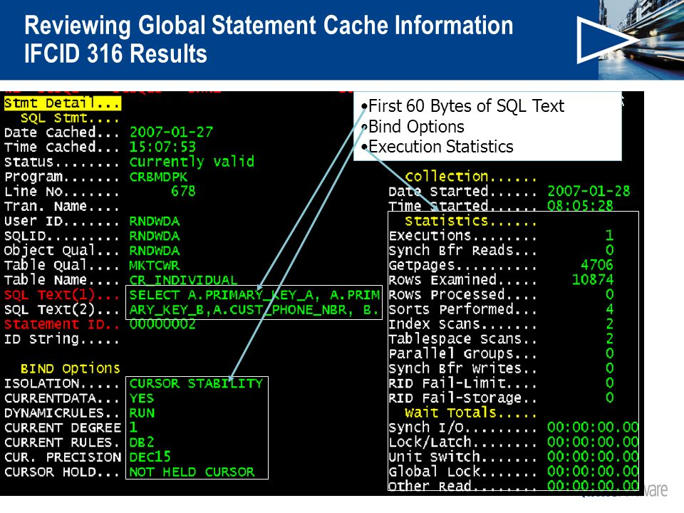 Reviewing Global Statement Cache Information IFCID 316 Results First 60 Bytes of SQL Text Bind Options Execution Statistics