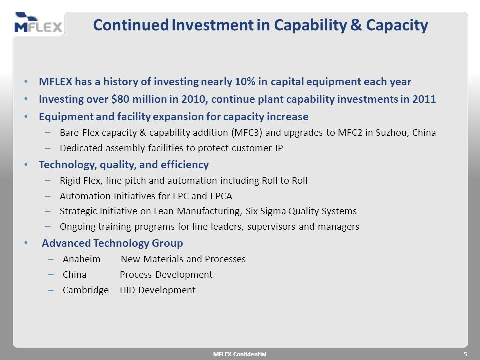 Continued Investment in Capability & Capacity MFLEX has a history of investing nearly 10% in capital equipment each year Investing over $80 million in