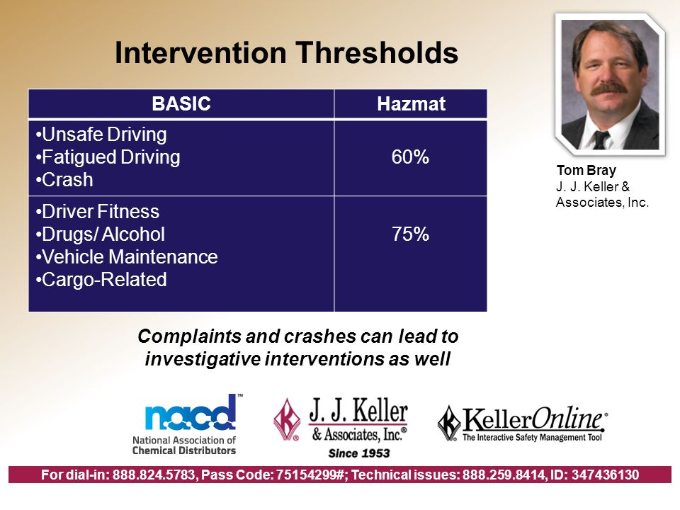 For dial-in: , Pass Code: #; Technical issues: , ID: BASICHazmat Unsafe Driving Fatigued Driving Crash 60% Driver Fitness Drugs/ Alcohol Vehicle Maintenance Cargo-Related 75% Complaints and crashes can lead to investigative interventions as well Intervention Thresholds Tom Bray J.