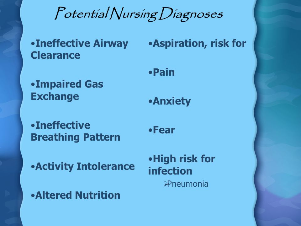 Potential Nursing Diagnoses Ineffective Airway Clearance Impaired Gas