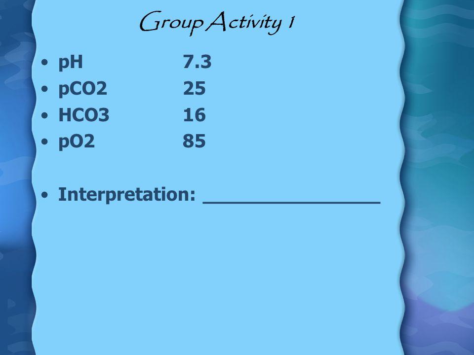 Group Activity 1 pH7.3 pCO225 HCO316 pO285 Interpretation: _______________