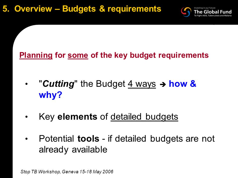 Stop TB Workshop, Geneva 15-18 May 2006 5. Overview – Budgets & requirements