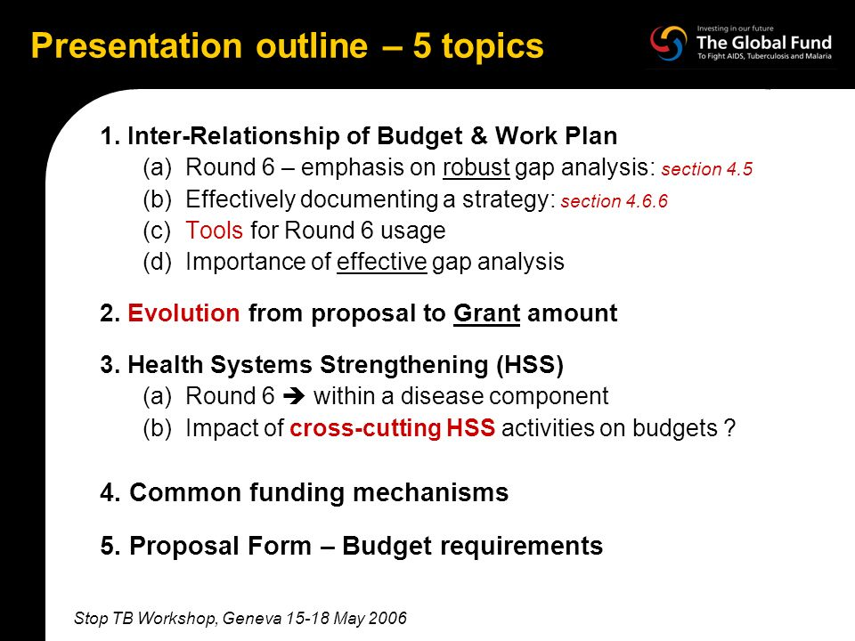 Stop TB Workshop, Geneva 15-18 May 2006 Presentation outline – 5 topics 1.
