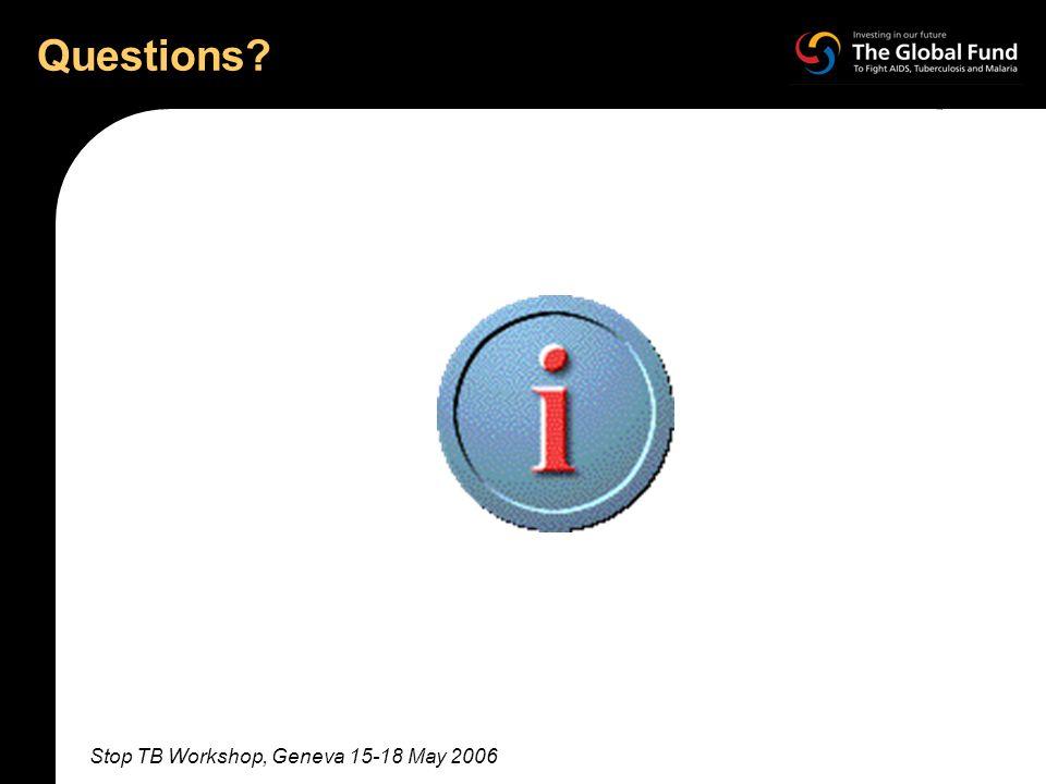 Stop TB Workshop, Geneva 15-18 May 2006 Questions?