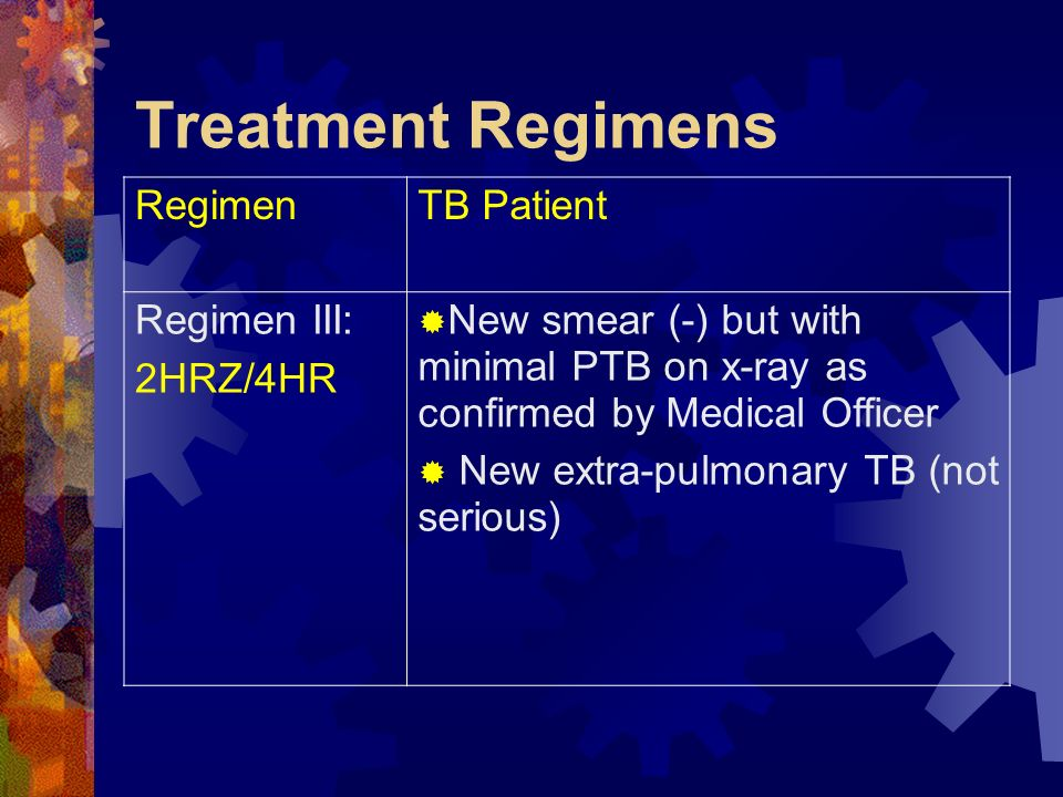 Treatment Regimens RegimenTB Patient Regimen III: 2HRZ/4HR New smear (-) but with minimal PTB on x-ray as confirmed by Medical Officer New extra-pulmo