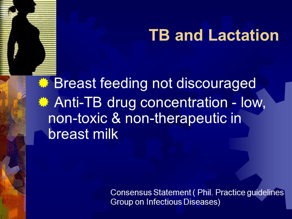 TB and Lactation Breast feeding not discouraged Anti-TB drug concentration - low, non-toxic & non-therapeutic in breast milk Consensus Statement ( Phi