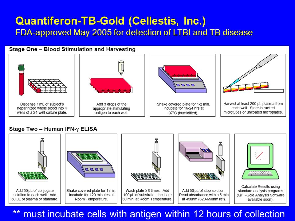 Quantiferon-TB-Gold (Cellestis, Inc.) FDA-approved May 2005 for detection of LTBI and TB disease ** must incubate cells with antigen within 12 hours o