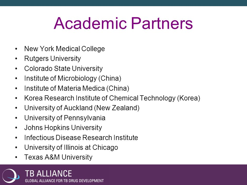 Academic Partners New York Medical College Rutgers University Colorado State University Institute of Microbiology (China) Institute of Materia Medica