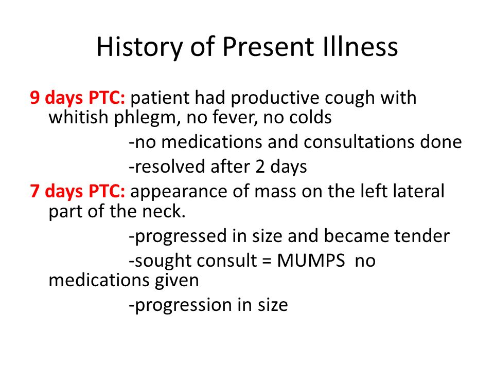 History of Present Illness 9 days PTC: patient had productive cough with whitish phlegm, no fever, no colds -no medications and consultations done -re