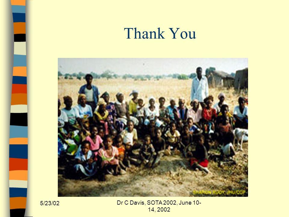 5/23/02 Dr C Davis, SOTA 2002, June 10- 14, 2002 Thank You