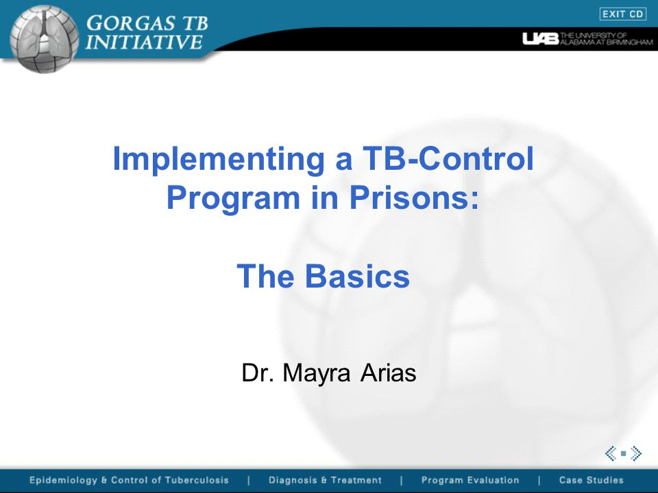 Implementing a TB-Control Program in Prisons: The Basics Dr. Mayra Arias