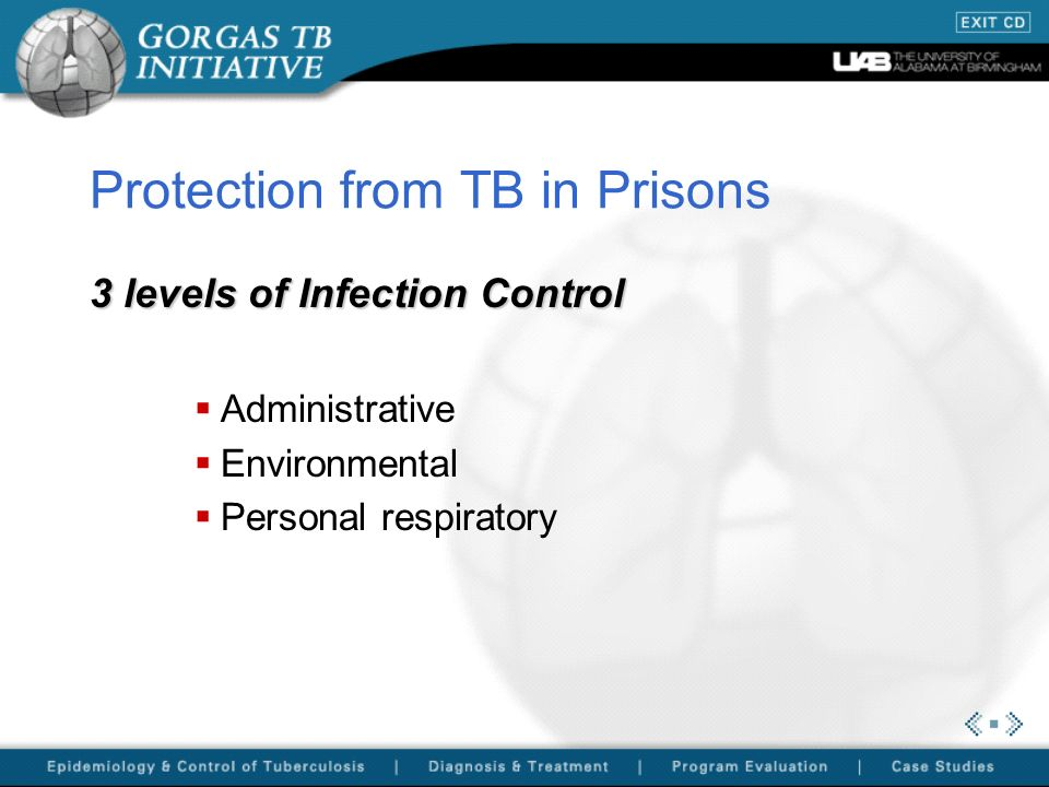 Protection from TB in Prisons 3 levels of Infection Control Administrative Environmental Personal respiratory