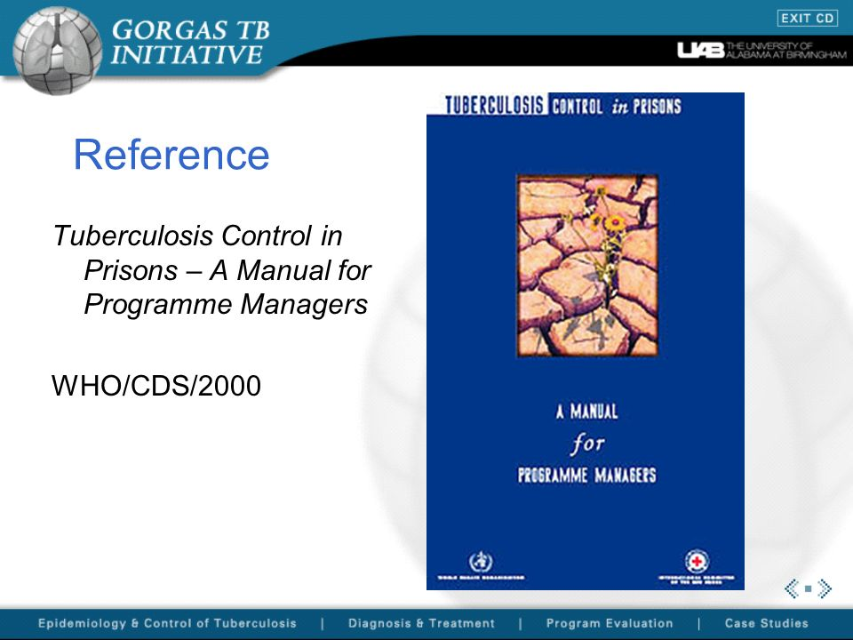 Reference Tuberculosis Control in Prisons – A Manual for Programme Managers WHO/CDS/2000