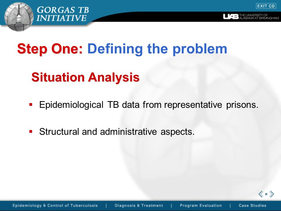 Step One: Step One: Defining the problem Situation Analysis Epidemiological TB data from representative prisons.