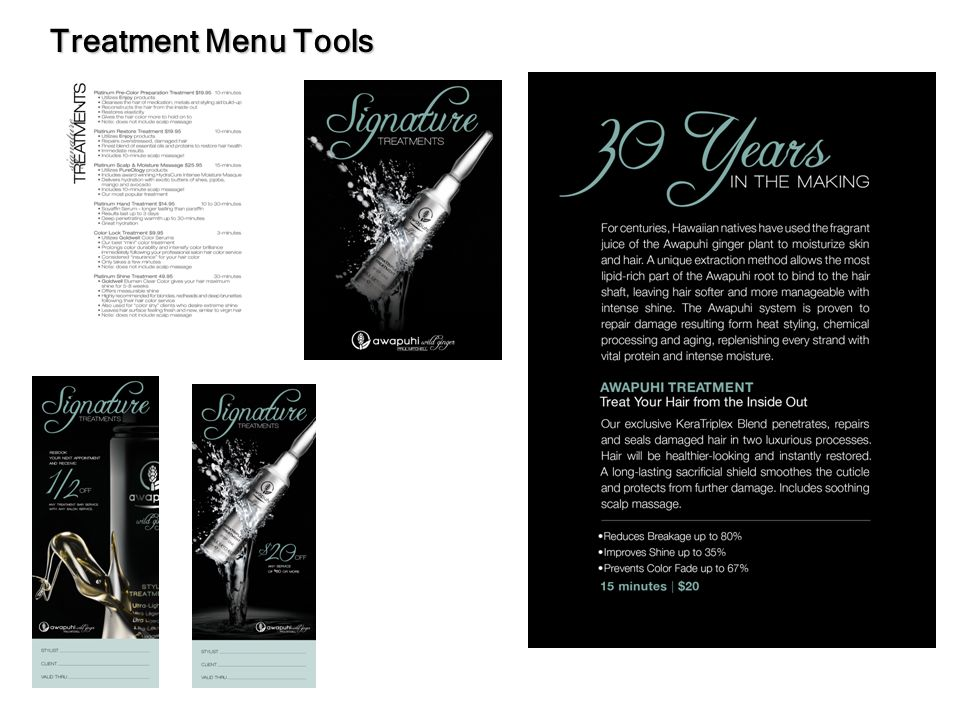 Treatment Menu Tools