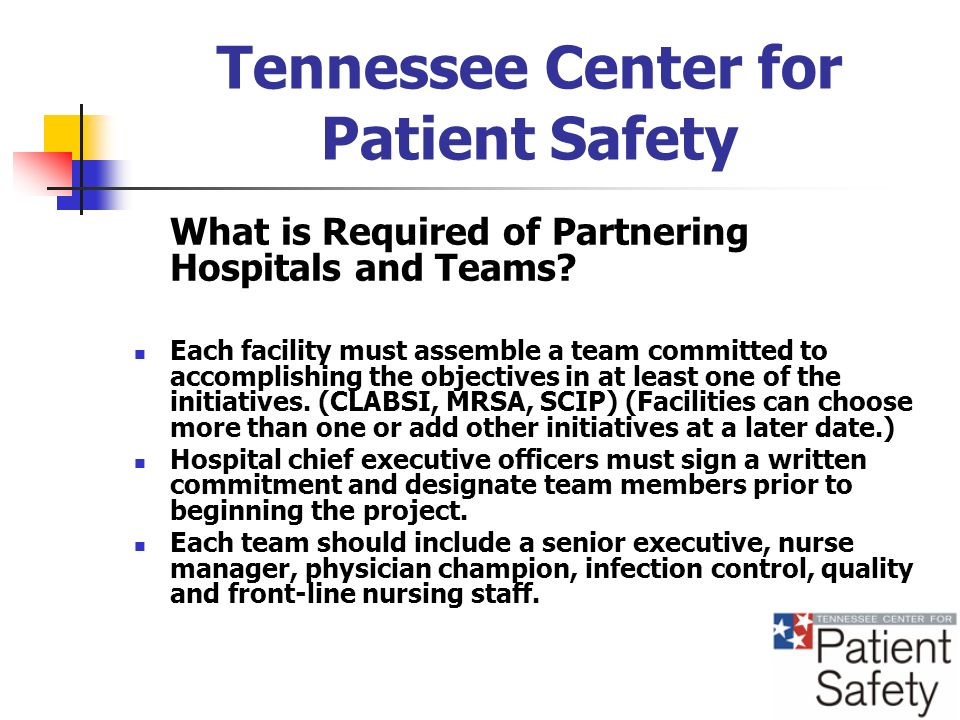 Tennessee Center for Patient Safety What is Required of Partnering Hospitals and Teams.