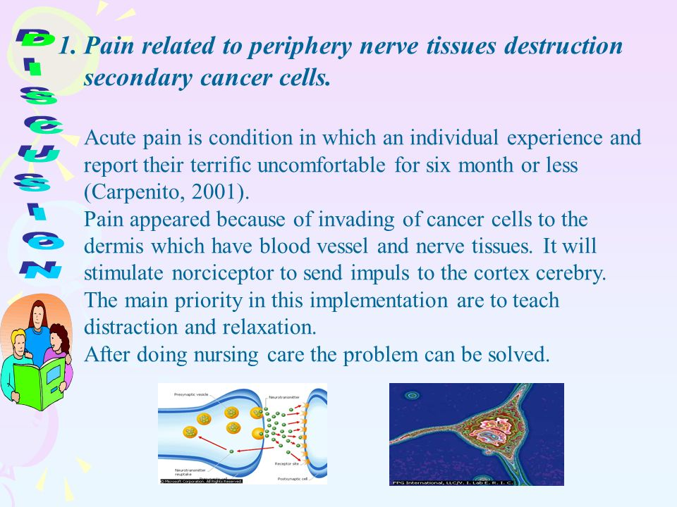 1.Pain related to periphery nerve tissues destruction secondary cancer cells.