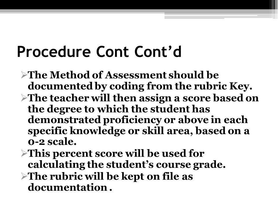 Procedure Cont Contd The Method of Assessment should be documented by coding from the rubric Key. The teacher will then assign a score based on the de