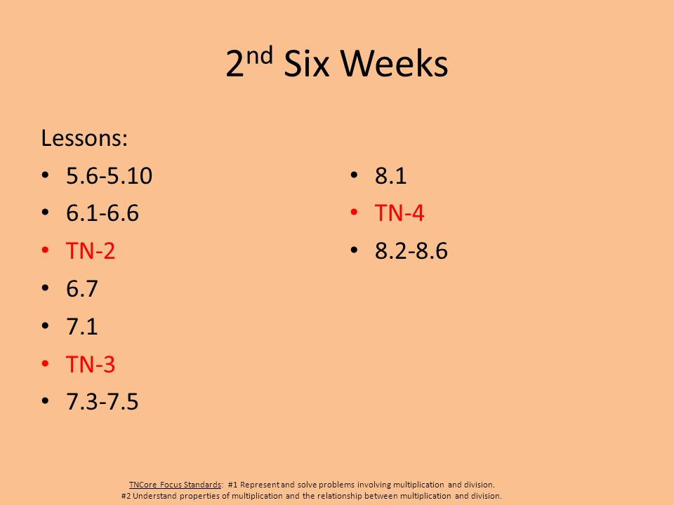 2 nd Six Weeks Lessons: 5.6-5.10 6.1-6.6 TN-2 6.7 7.1 TN-3 7.3-7.5 8.1 TN-4 8.2-8.6 TNCore Focus Standards: #1 Represent and solve problems involving multiplication and division.