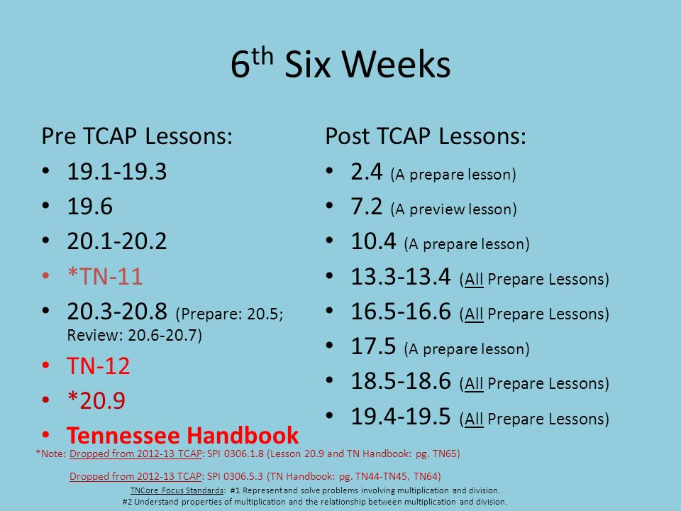 6 th Six Weeks Pre TCAP Lessons: 19.1-19.3 19.6 20.1-20.2 *TN-11 20.3-20.8 (Prepare: 20.5; Review: 20.6-20.7) TN-12 *20.9 Tennessee Handbook Post TCAP Lessons: 2.4 (A prepare lesson) 7.2 (A preview lesson) 10.4 (A prepare lesson) 13.3-13.4 (All Prepare Lessons) 16.5-16.6 (All Prepare Lessons) 17.5 (A prepare lesson) 18.5-18.6 (All Prepare Lessons) 19.4-19.5 (All Prepare Lessons) TNCore Focus Standards: #1 Represent and solve problems involving multiplication and division.