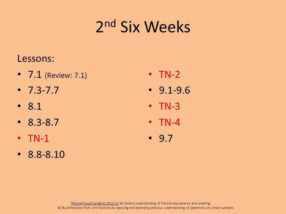 2 nd Six Weeks Lessons: 7.1 (Review: 7.1) 7.3-7.7 8.1 8.3-8.7 TN-1 8.8-8.10 TN-2 9.1-9.6 TN-3 TN-4 9.7 TNCore FocusS tandards 2012-13: #1 Extend understanding of fraction equivalence and ordering.