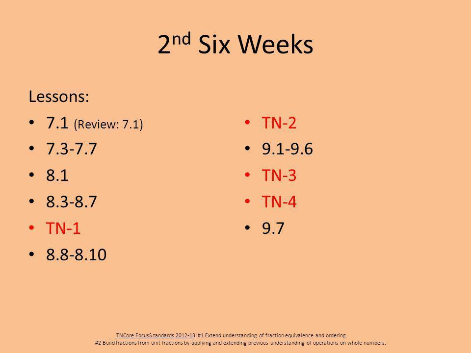 2 nd Six Weeks Lessons: 7.1 (Review: 7.1) 7.3-7.7 8.1 8.3-8.7 TN-1 8.8-8.10 TN-2 9.1-9.6 TN-3 TN-4 9.7 TNCore FocusS tandards 2012-13: #1 Extend under