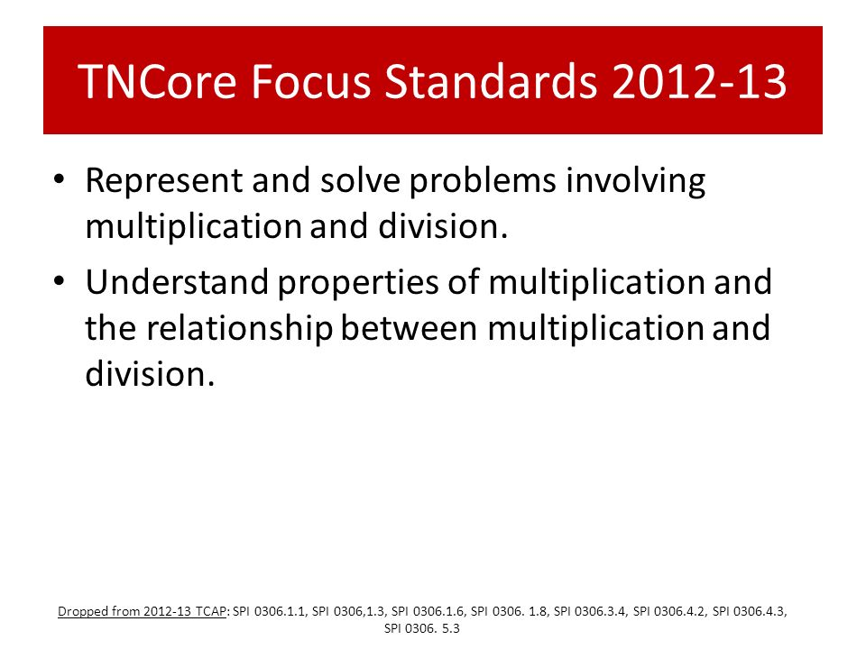 TNCore Focus Standards 2012-13 Represent and solve problems involving multiplication and division. Understand properties of multiplication and the rel