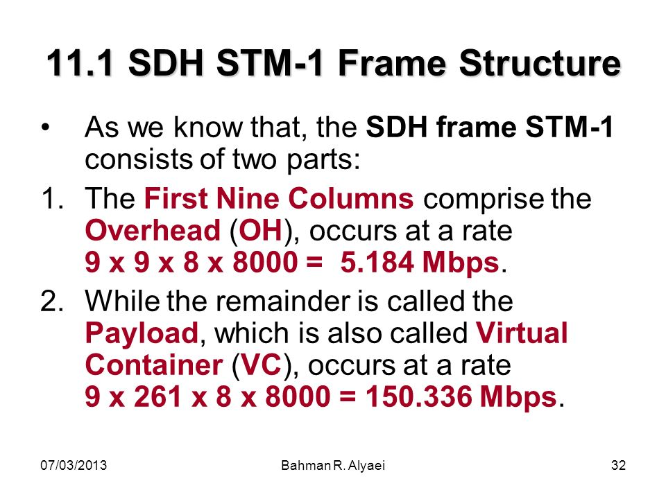 07/03/2013Bahman R. Alyaei32 11.1 SDH STM-1 Frame Structure As we know that, the SDH frame STM-1 consists of two parts: 1.The First Nine Columns compr