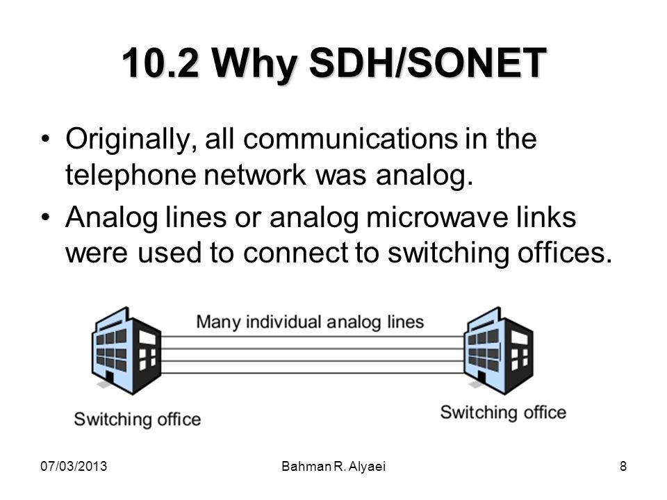 07/03/2013Bahman R. Alyaei8 10.2 Why SDH/SONET Originally, all communications in the telephone network was analog. Analog lines or analog microwave li