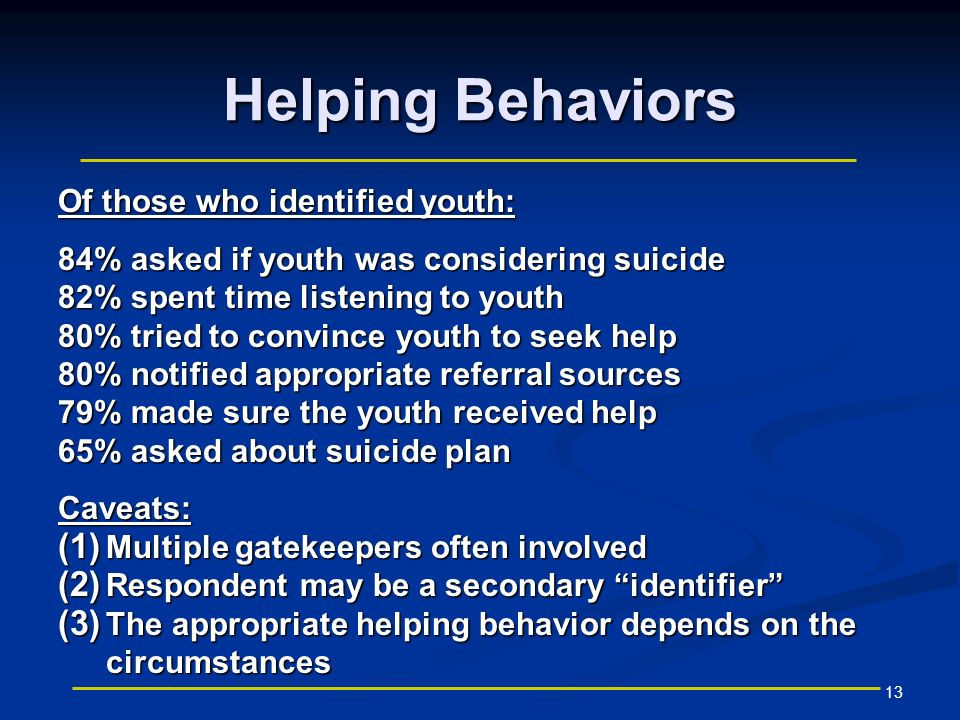 13 Helping Behaviors Of those who identified youth: 84% asked if youth was considering suicide 82% spent time listening to youth 80% tried to convince youth to seek help 80% notified appropriate referral sources 79% made sure the youth received help 65% asked about suicide plan Caveats: (1) Multiple gatekeepers often involved (2) Respondent may be a secondary identifier (3) The appropriate helping behavior depends on the circumstances