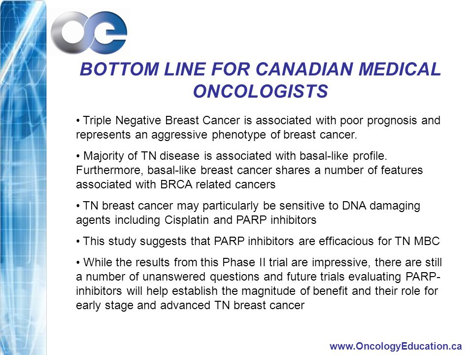 www.OncologyEducation.ca BOTTOM LINE FOR CANADIAN MEDICAL ONCOLOGISTS Triple Negative Breast Cancer is associated with poor prognosis and represents an aggressive phenotype of breast cancer.