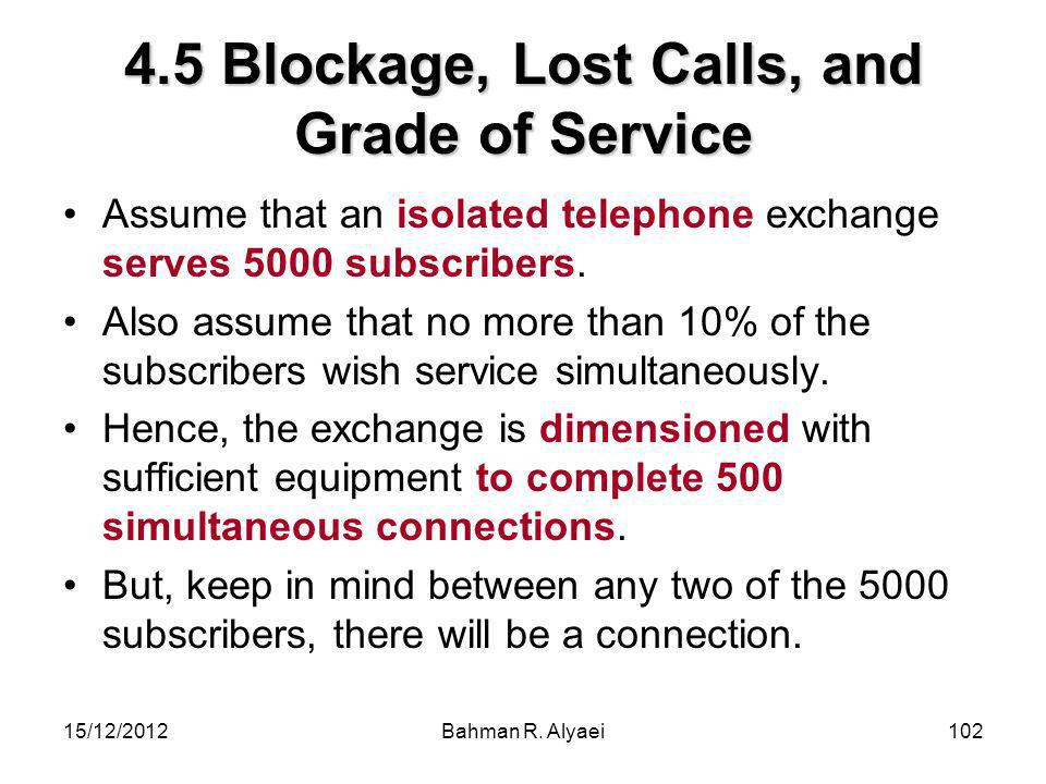15/12/2012Bahman R. Alyaei102 4.5 Blockage, Lost Calls, and Grade of Service Assume that an isolated telephone exchange serves 5000 subscribers. Also