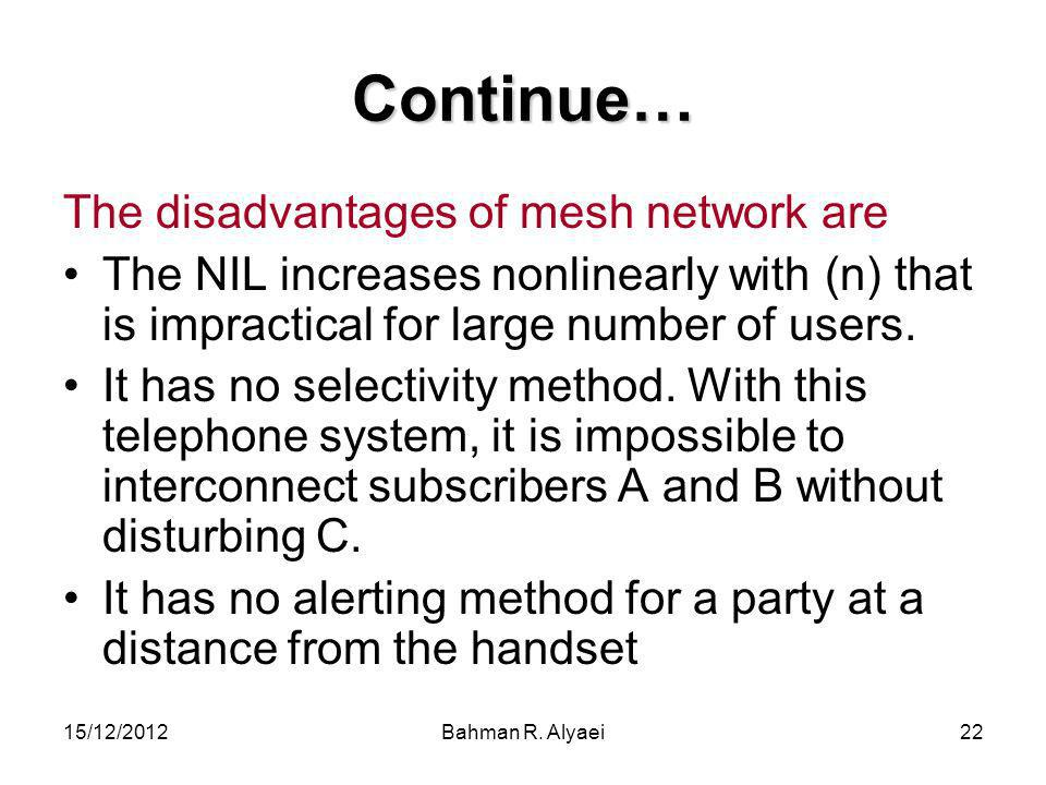 15/12/2012Bahman R. Alyaei22 Continue… The disadvantages of mesh network are The NIL increases nonlinearly with (n) that is impractical for large numb