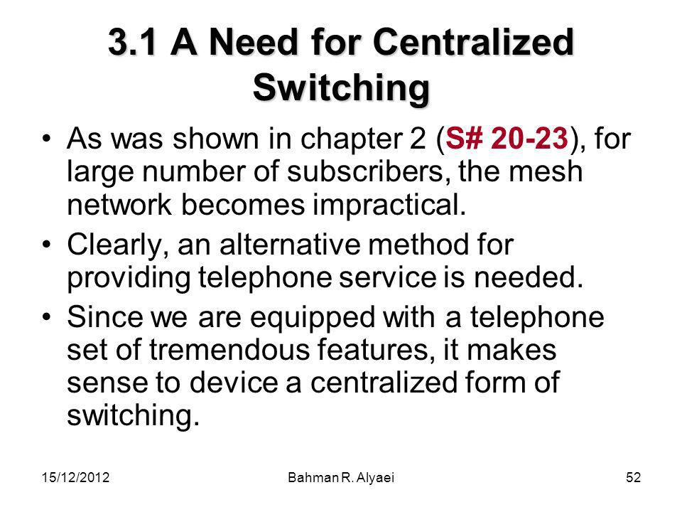 15/12/2012Bahman R. Alyaei52 3.1 A Need for Centralized Switching As was shown in chapter 2 (S# 20-23), for large number of subscribers, the mesh netw